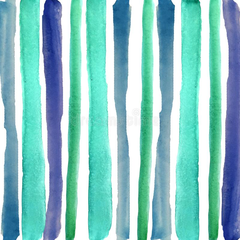 Watercolor blue and green stripes. Set of color watercolor stripes and strokes of turquoise blue colors. background for the design of wallpaper, posters, cards royalty free illustration
