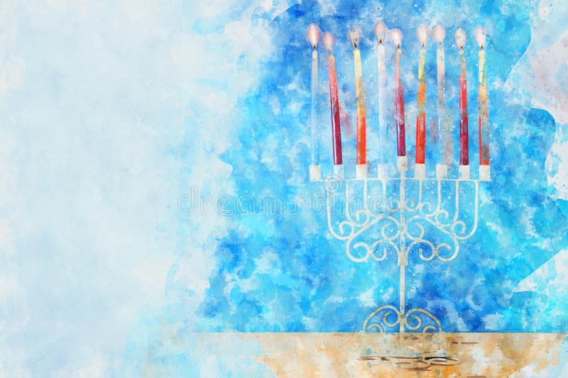 Watercolor style and abstract image of jewish holiday Hanukkah with menorah (traditional candelabra royalty free stock photography