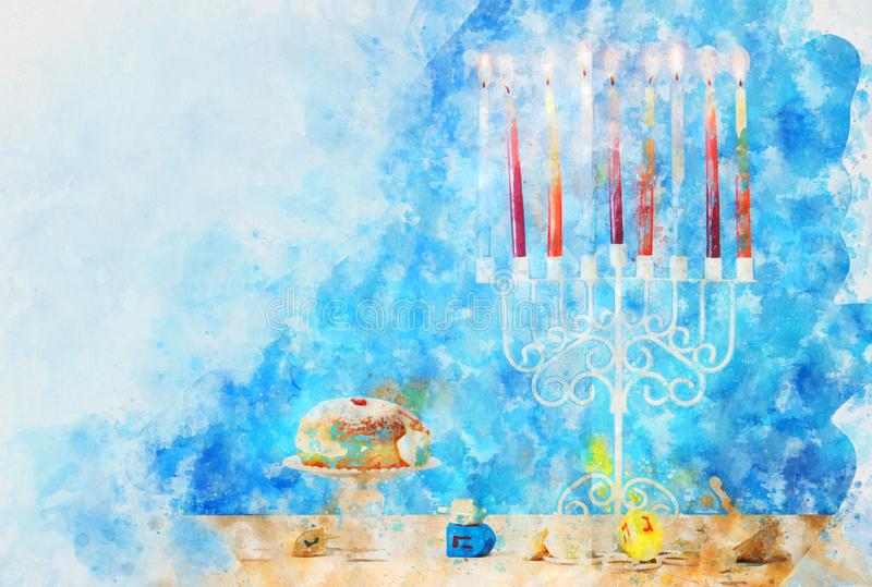 Watercolor style and abstract image of jewish holiday Hanukkah with menorah (traditional candelabra royalty free stock image