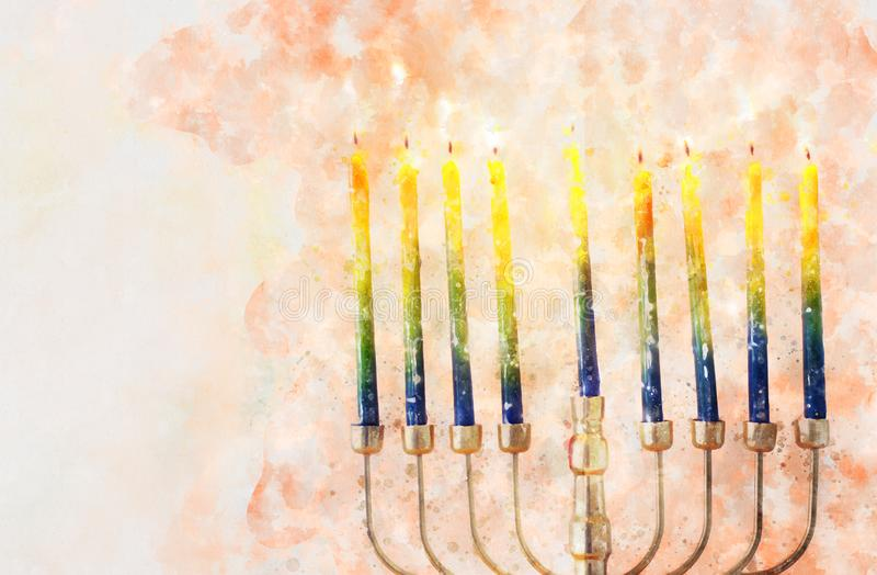 Watercolor style and abstract image of jewish holiday Hanukkah with menorah (traditional candelabra royalty free stock photos