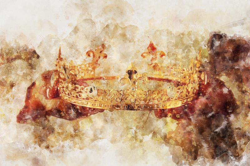 watercolor style and abstract image of lady holding gold crown. fantasy medieval period. royalty free illustration