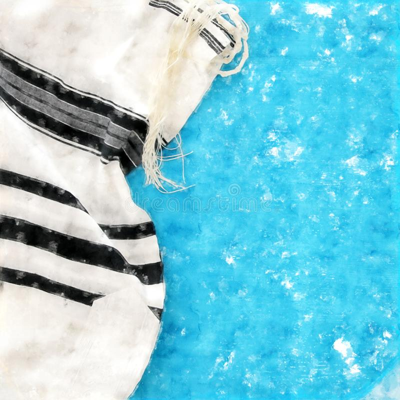 Watercolor style and abstract image of White Prayer Shawl - Tallit, jewish religious symbol. royalty free illustration