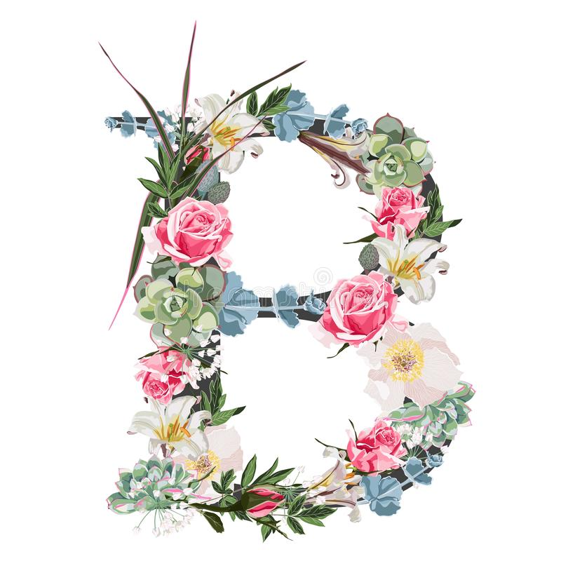 Watercolor style Floral Monogram Letter B with many kind of flowers and succulent. Isolated White Background vector illustration
