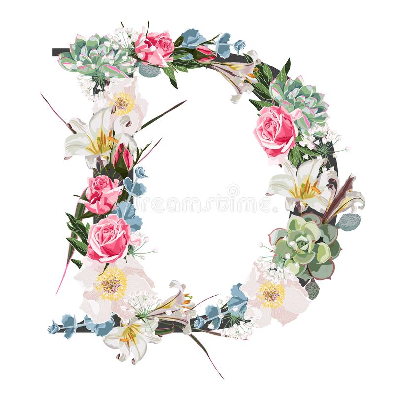 Watercolor style Floral Monogram Letter D with many kind of flowers and succulent. Isolated White Background stock illustration