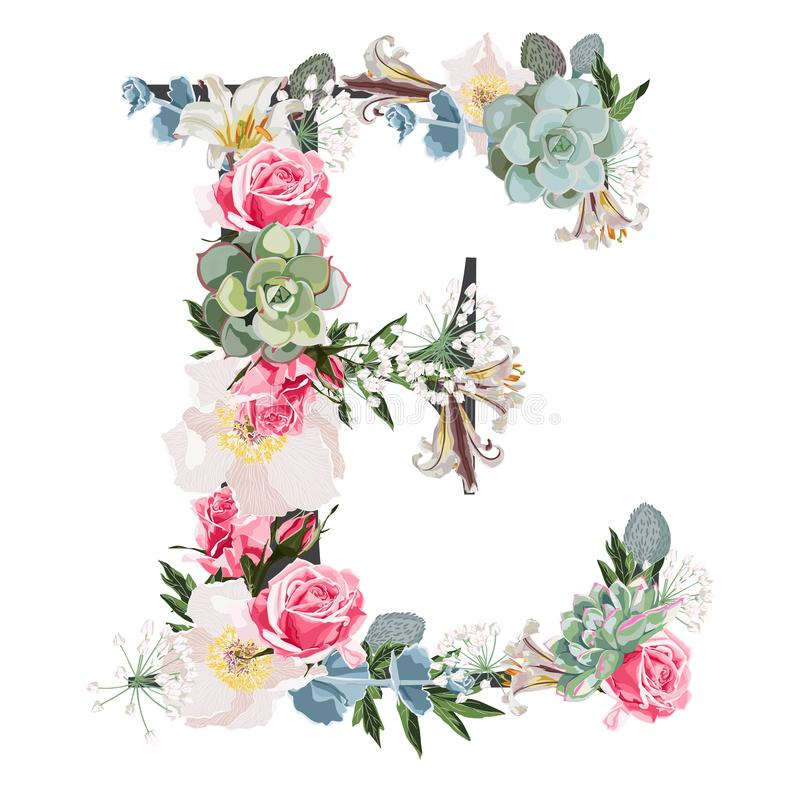 Watercolor style Floral Monogram Letter E with many kind of flowers and succulent. royalty free stock photos