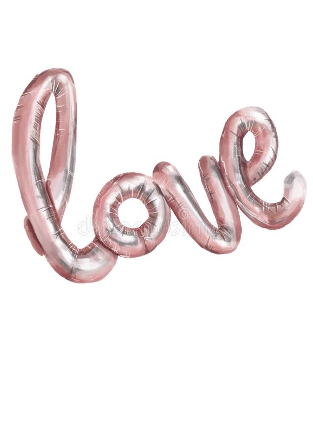 Watercolor style illustration. Pink gloss balloon letters LOVE on the white background. Valentines day. Watercolor style illustration. Pink gloss balloon letters vector illustration