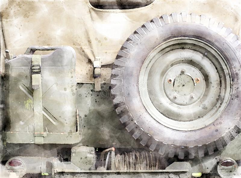 Watercolor style image of the rear of an old United States World War II vehicle close up with details of military equipment royalty free illustration