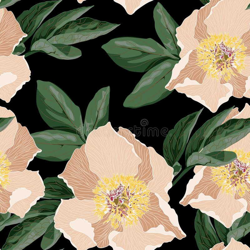 Watercolor style peony pattern. Seamless floral backdrop of Chinese-style on a black background vector illustration