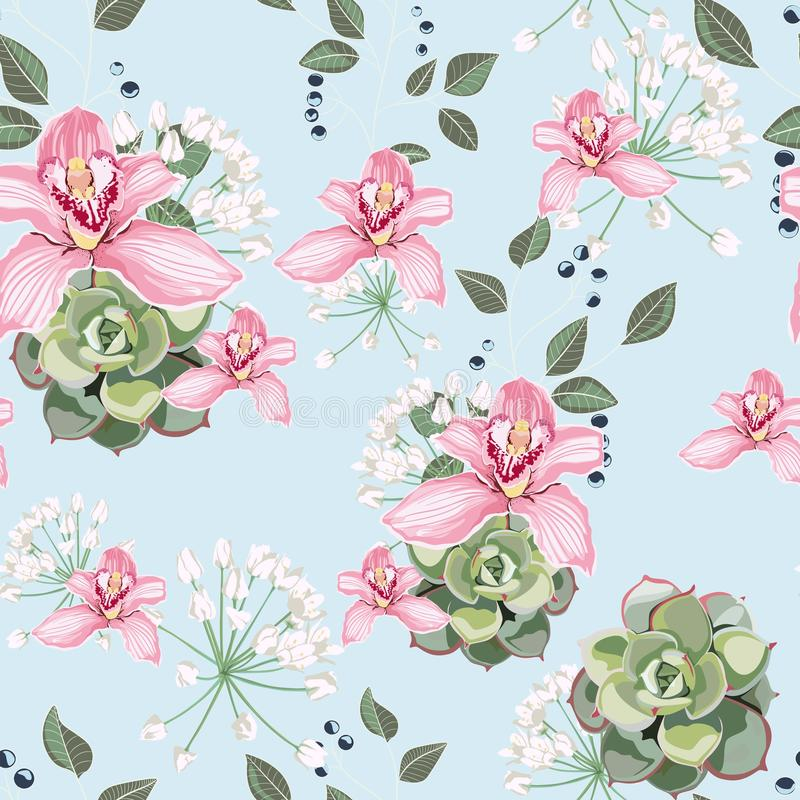 Watercolor style succulent and pink orchid flowers seamless pattern, branch of berries, greenery. royalty free illustration