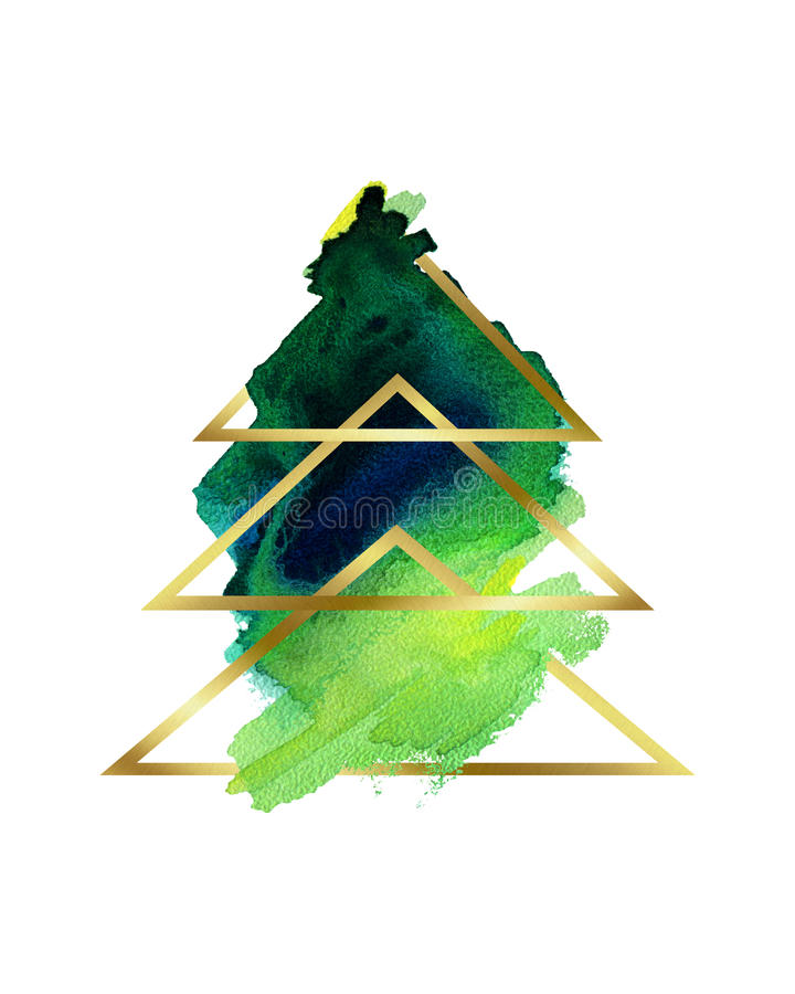 Watercolor. Stylized abstract Christmas tree green and gold . vector illustration