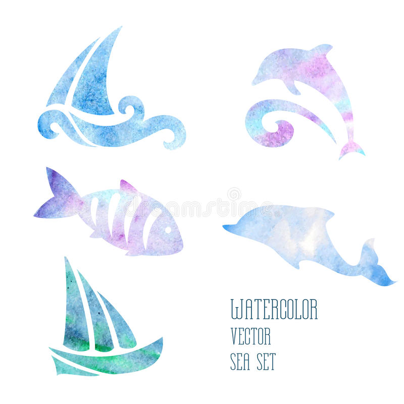 Watercolor stylized sea set on a white background. Watercolor stylized ship and fish on a white background stock illustration