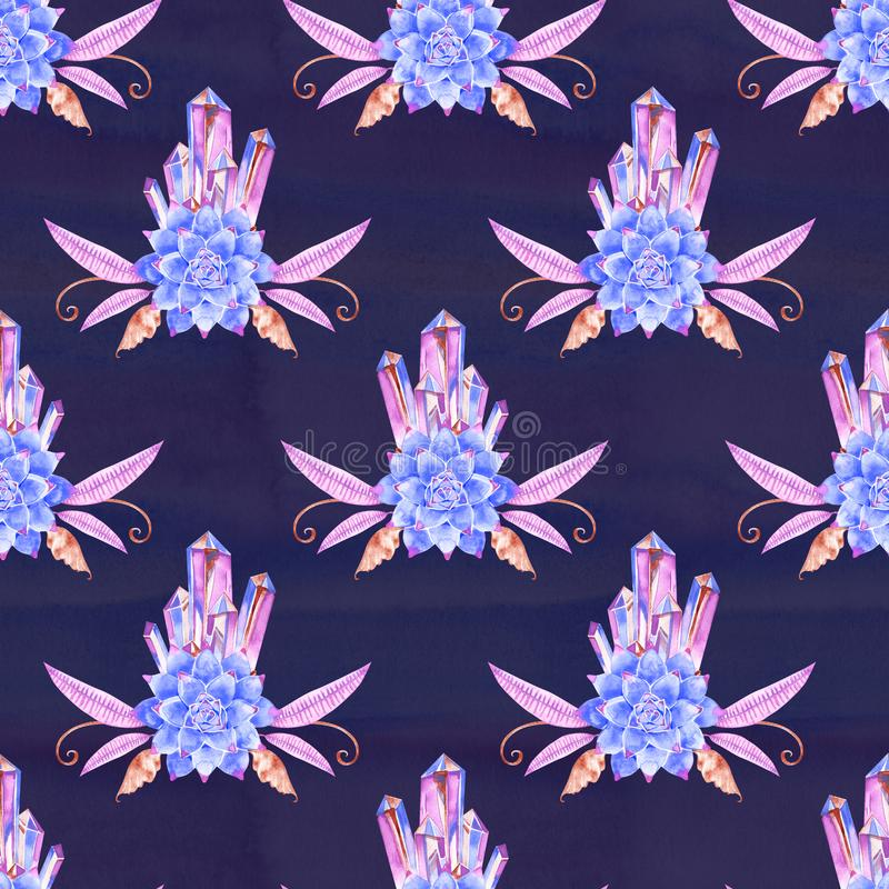 Watercolor succulents seamless pattern. Seamless texture hand painted boho vintage gardening background. royalty free illustration