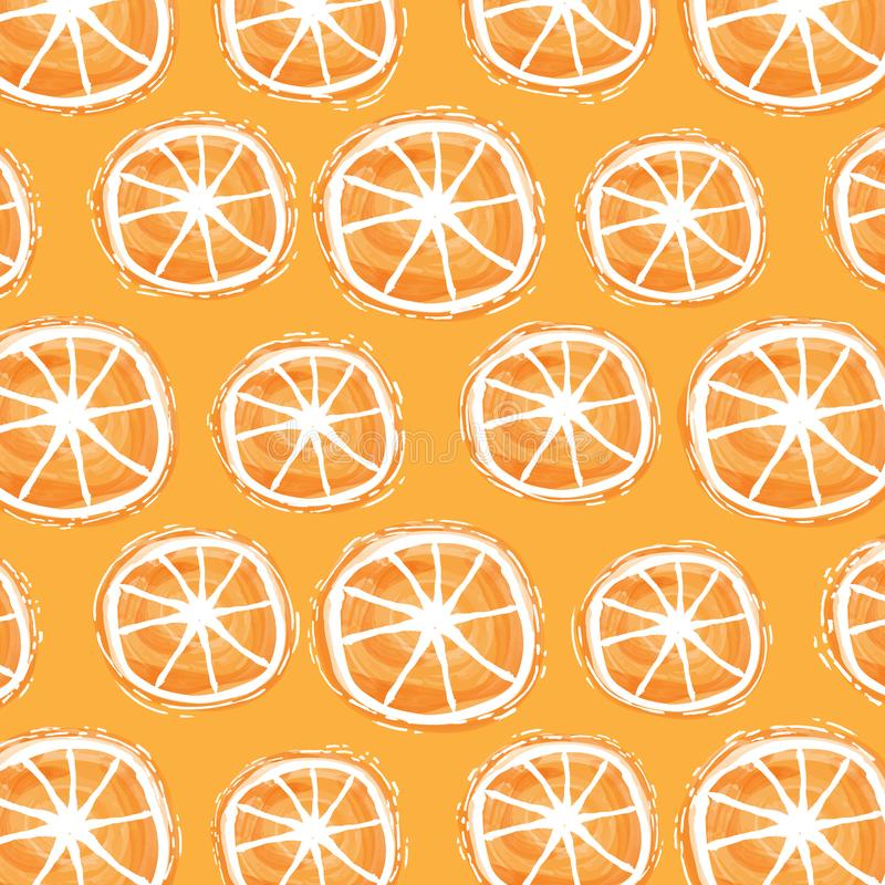 Watercolor summer background with orange slices. Vector stock illustration