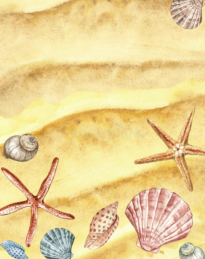 Watercolor summer beach background with hand painted seashells, starfish on sand texture. Marine illustration, top view royalty free illustration