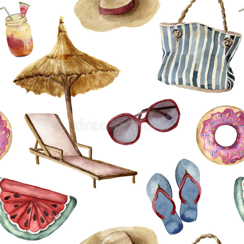 Watercolor summer beach pattern. Hand painted summer vacation objects: sunglasses, beach umbrella, beach chair, straw. Hat, beach bag, pool floats and flip royalty free illustration