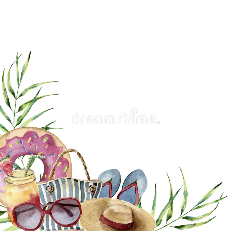 Watercolor summer beach print. Hand painted summer vacation frame with objects: sunglasses, straw hat, beach bag, pool stock illustration