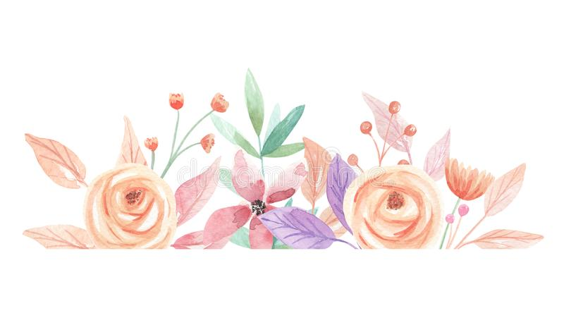 Watercolor Summer Berries Flowers Leaves Leaf Border. Watercolor summer border in peach and coral - pastel colors - pretty arch frame stock illustration
