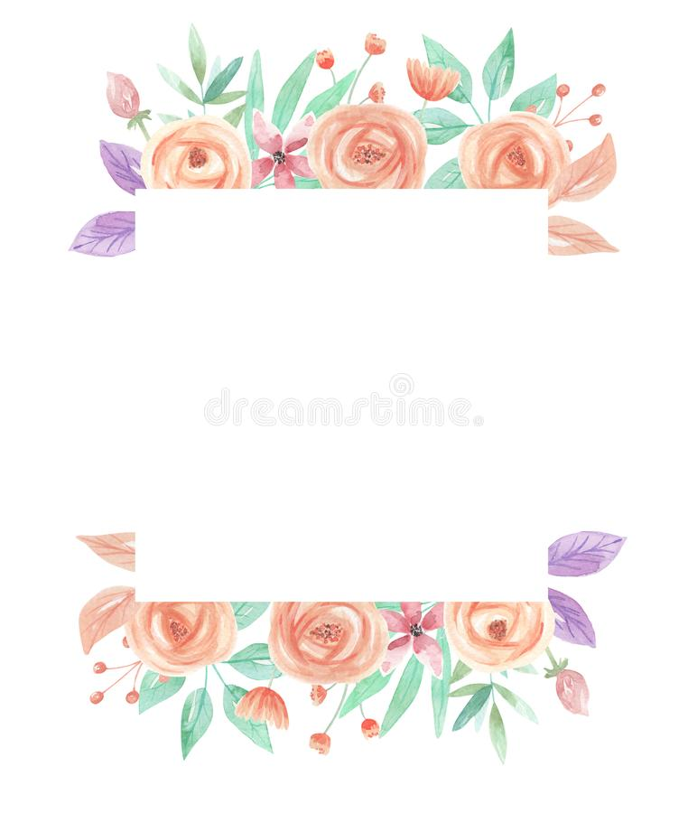 Watercolor Summer Peach Coral Berries Flowers Square Frame. Watercolor summer border in peach and coral - pastel colors - pretty arch frame vector illustration