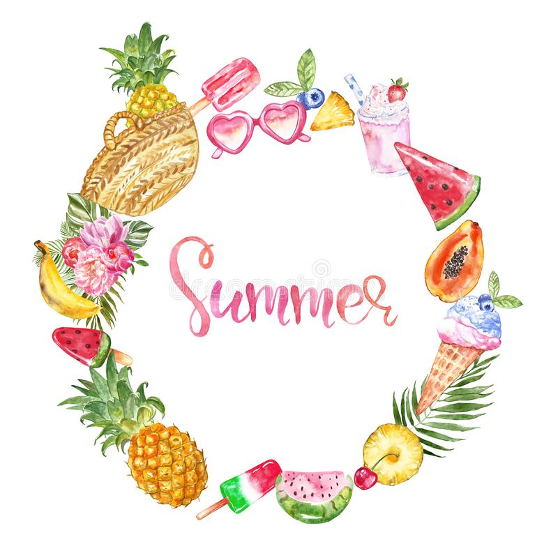 Watercolor summer card with space for text. Hand painted frame with exotic fruits, tropical leaves, tasty desserts on white. Watercolor summer frame with hand stock illustration