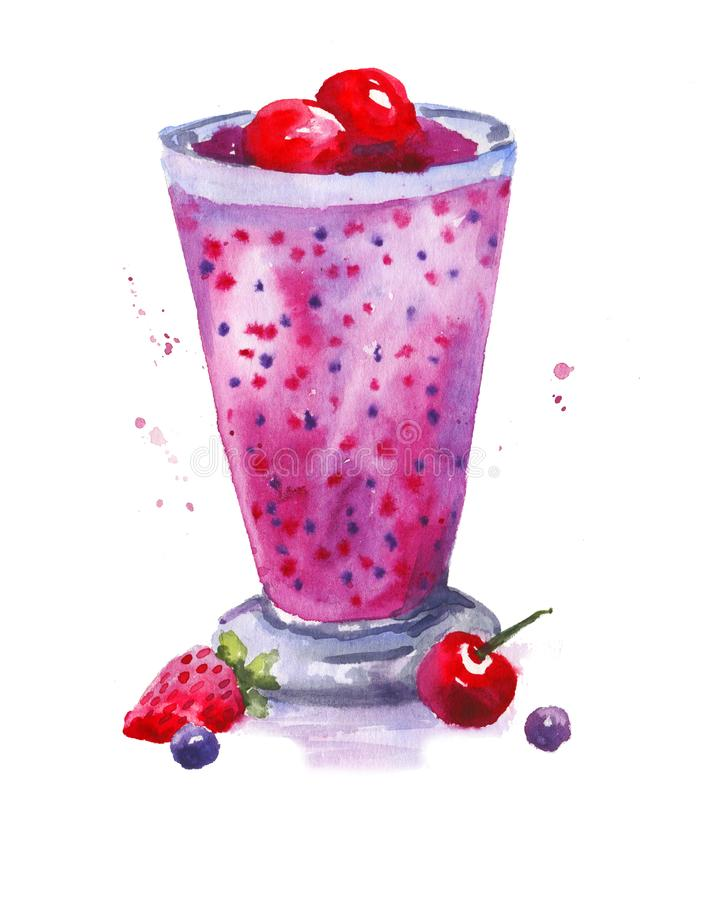 Watercolor Summer Cocktail. Cafe or restaurant menu, postcard, design. A cocktail of strawberries, cherries, berries. Pink drink. Summer party, fresh, smoothie royalty free illustration