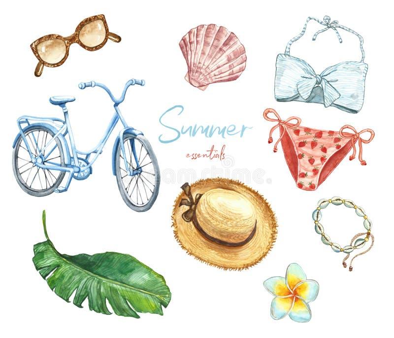 Watercolor summer essentials set. Women bikini, swimwear, sunglasses, bicycle, accessories, tropical plant leaf, hat royalty free illustration