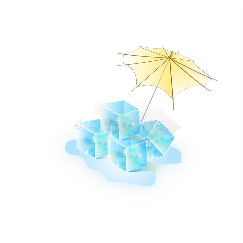 Watercolor of summer ice under an umbrella. Vector decorative texture. stock images