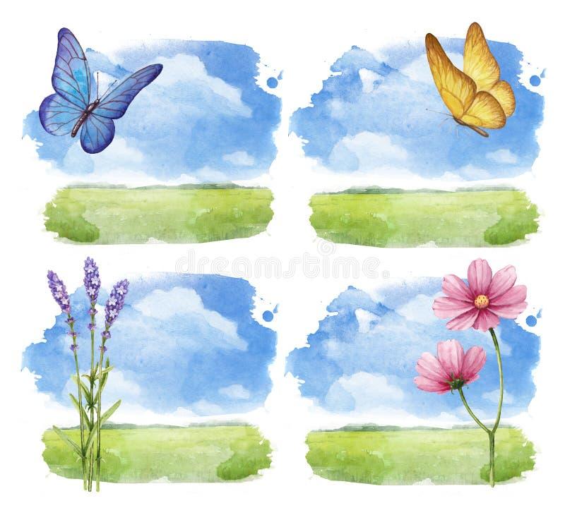 Watercolor summer landscape vector illustration