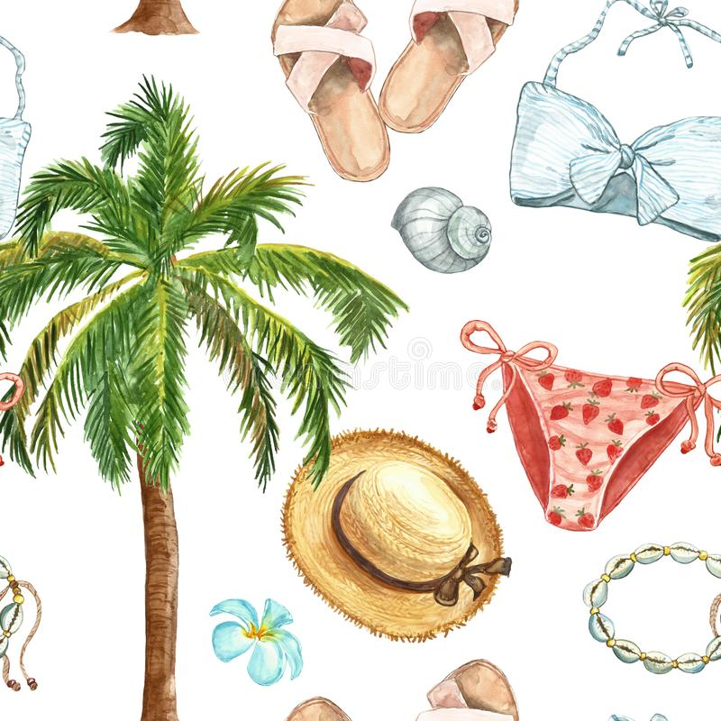 Watercolor summer cute seamless pattern with beach nautical elements. Swimsuit, sandals, seashells, palm tree, straw hat on white. Watercolor summer nautical royalty free illustration