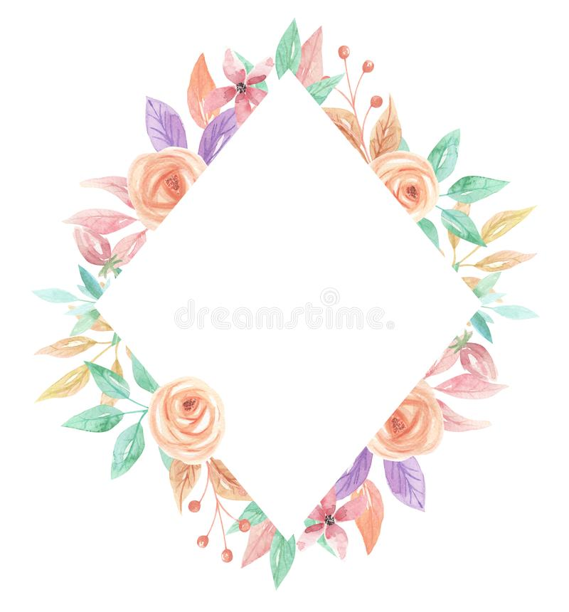 Watercolor Summer Peach Coral Berries Flowers Diamond Frame. Watercolor summer border in peach and coral - pastel colors - pretty arch frame royalty free illustration