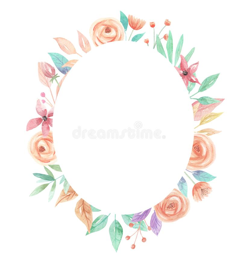 Watercolor Summer Peach Coral Berries Flowers Oval Leaf Border. Watercolor summer border in peach and coral - pastel colors - pretty arch frame royalty free illustration