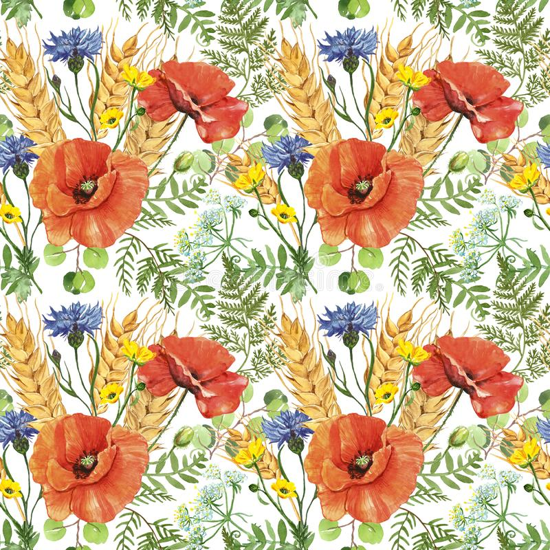Watercolor red poppy and wheat in a meadow seamless pattern on white background. Wild flowers botanical print vector illustration