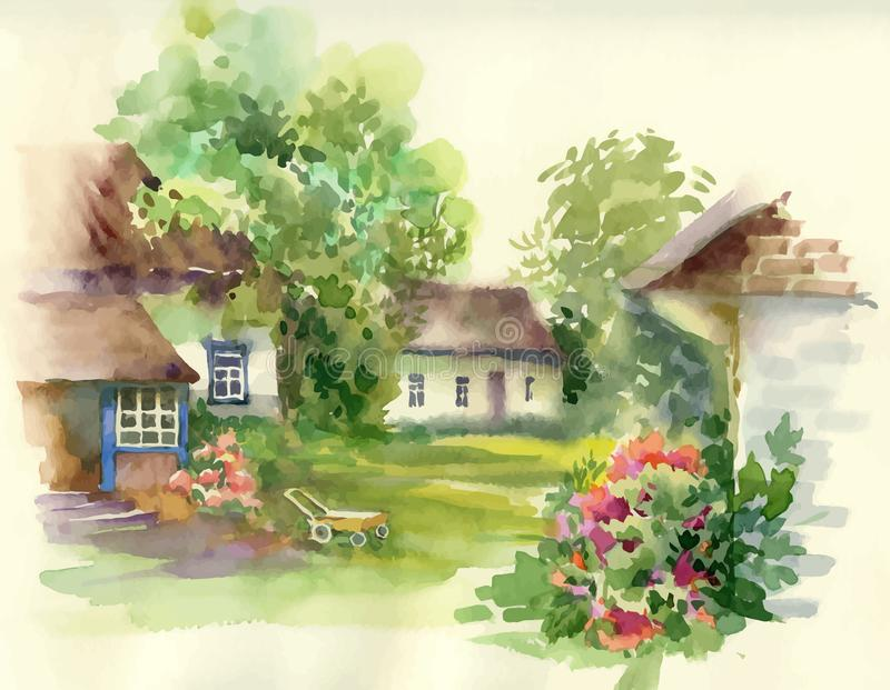 Watercolor summer rural landscape with trees at countryside. vector illustration