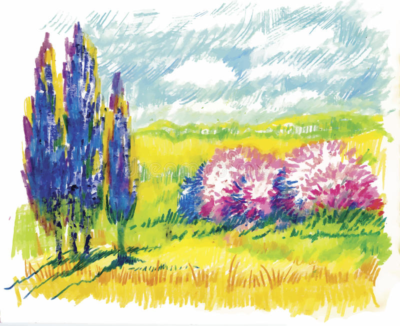 Watercolor summer rural landscape vector illustration vector illustration