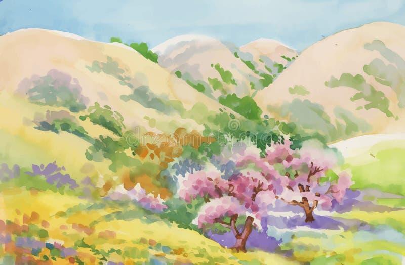 Watercolor summer rural landscape vector illustration royalty free illustration