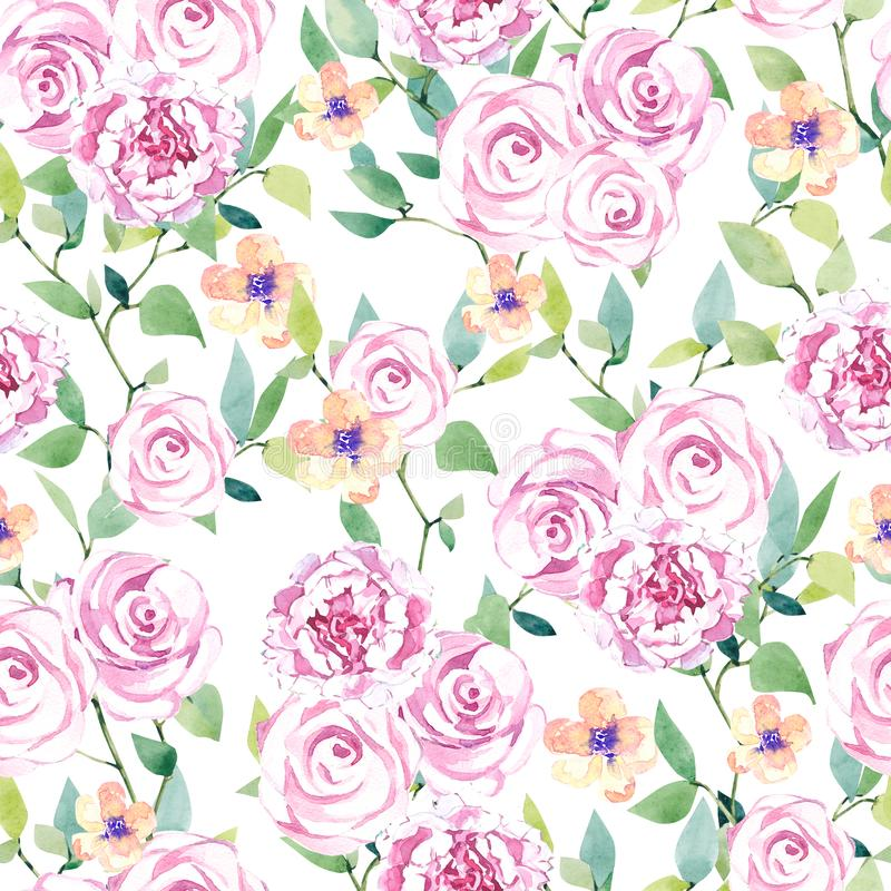 Watercolor summer  seamless pattern with flowers and branches. Flat Graphic florals. Mid and Large scale blooms. stock illustration