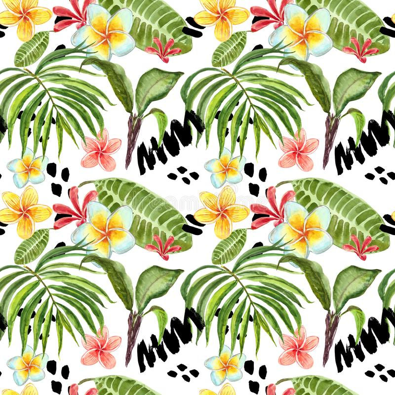 Watercolor tropical leaves seamless pattern. Hand painted palm leaf, exotic plumeria flowers and green foliage on white background royalty free illustration