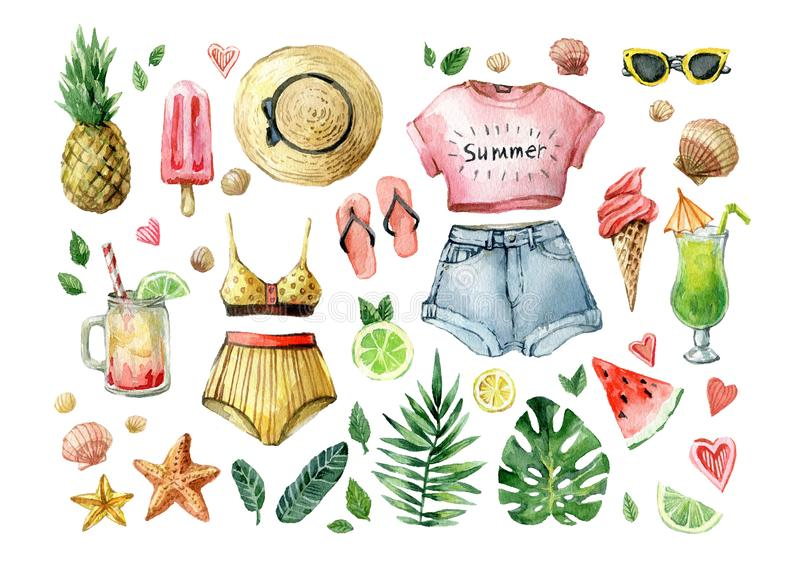 Watercolor summer set with palm leafs, exotic fruits, ice cream, cold drinks, watermelon and summer clothes. Hand drawn royalty free illustration