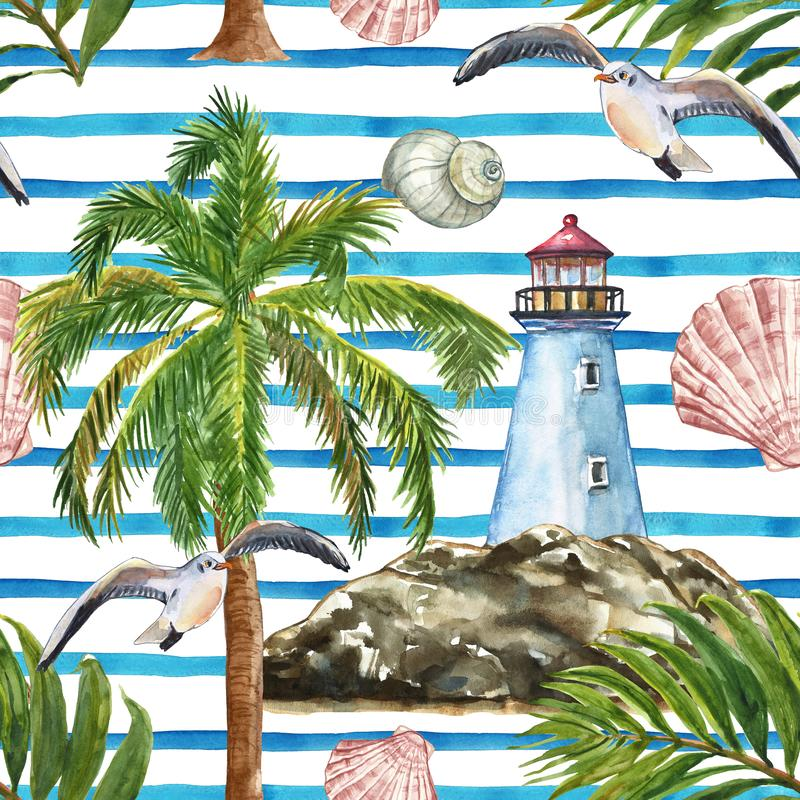 Watercolor summer striped seamless pattern, nautical style. Lighthouse, seashore, palm tree, seagull, shells, tropical leaves. Watercolor nautical style royalty free illustration