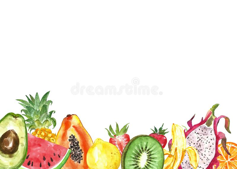 Watercolor summer tropical fruit background. Pineapple, watermelon, lemon, kiwi frame on white. Healthy exotic food royalty free illustration