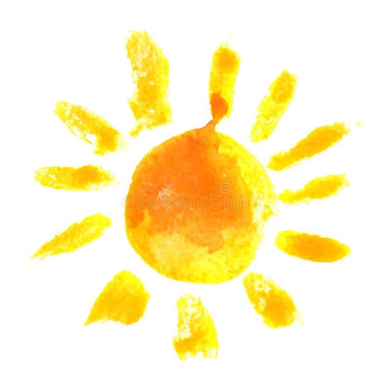 Watercolor sun icon vector illustration