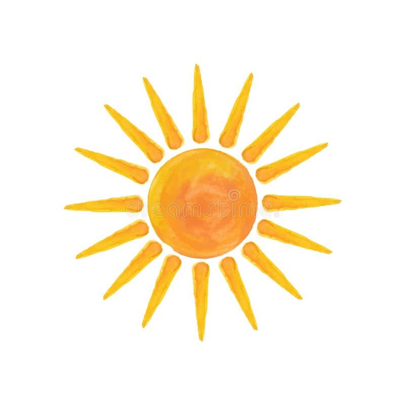 Watercolor sun Hello summer. Watercolor sun isolated on white background. Vector illustration. Hello summer vector illustration