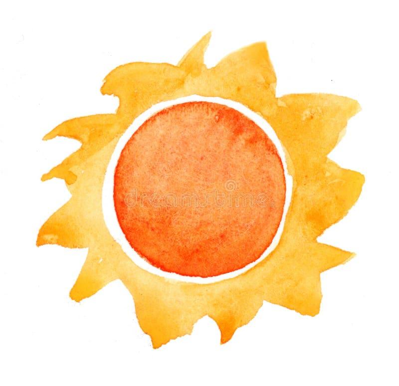 Watercolor sun vector illustration