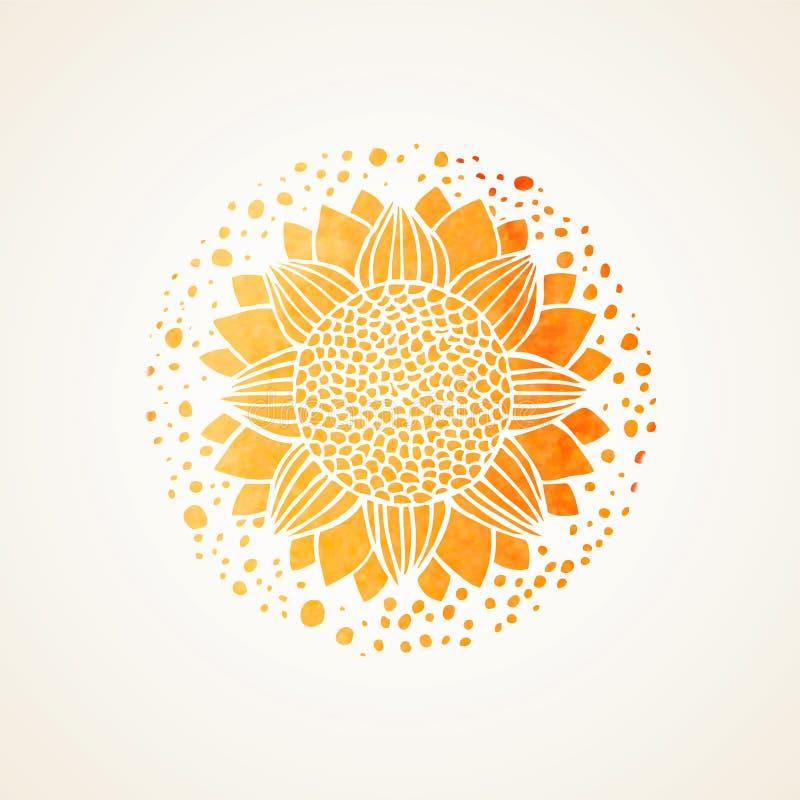 Watercolor sunny yellow lace pattern. Vector element. Mandala stock photography