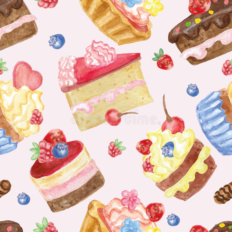 Watercolor sweet cakes seamless pattern with berries royalty free illustration