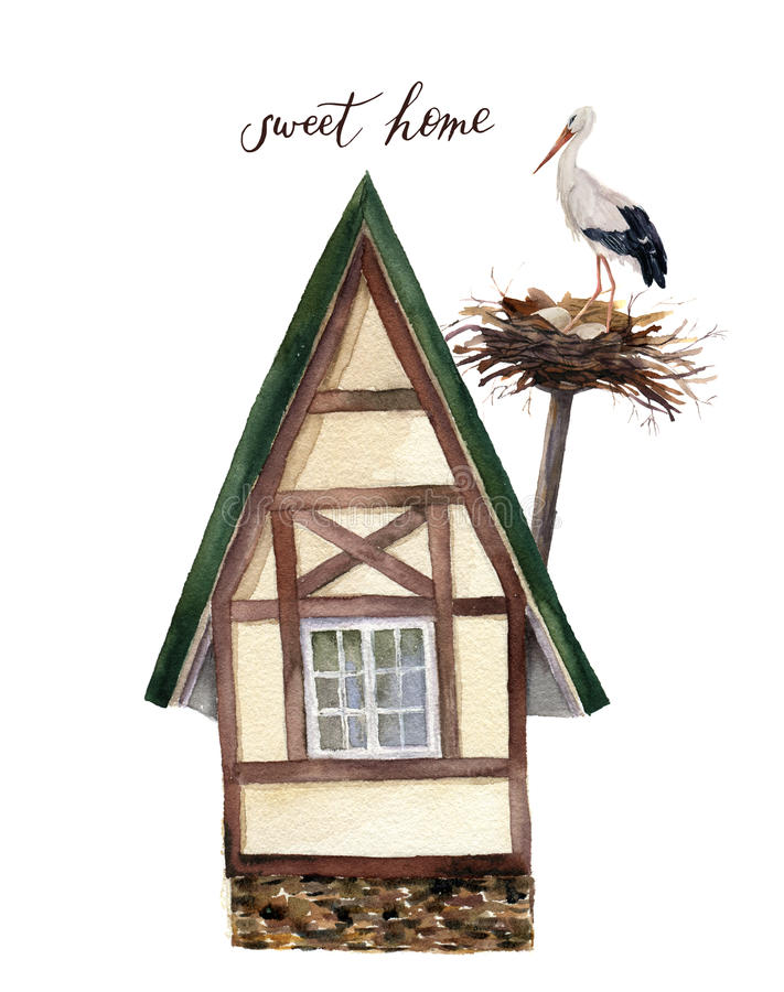 Watercolor sweet happy home with white stork and nest illustration. vector illustration
