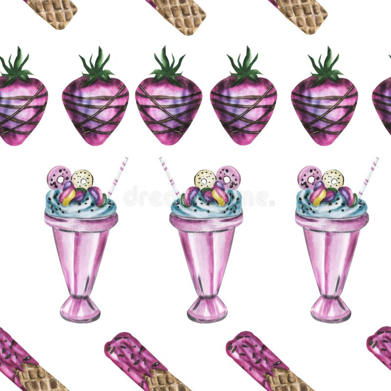Watercolor, sweets and dessert seamless pattern stock illustration