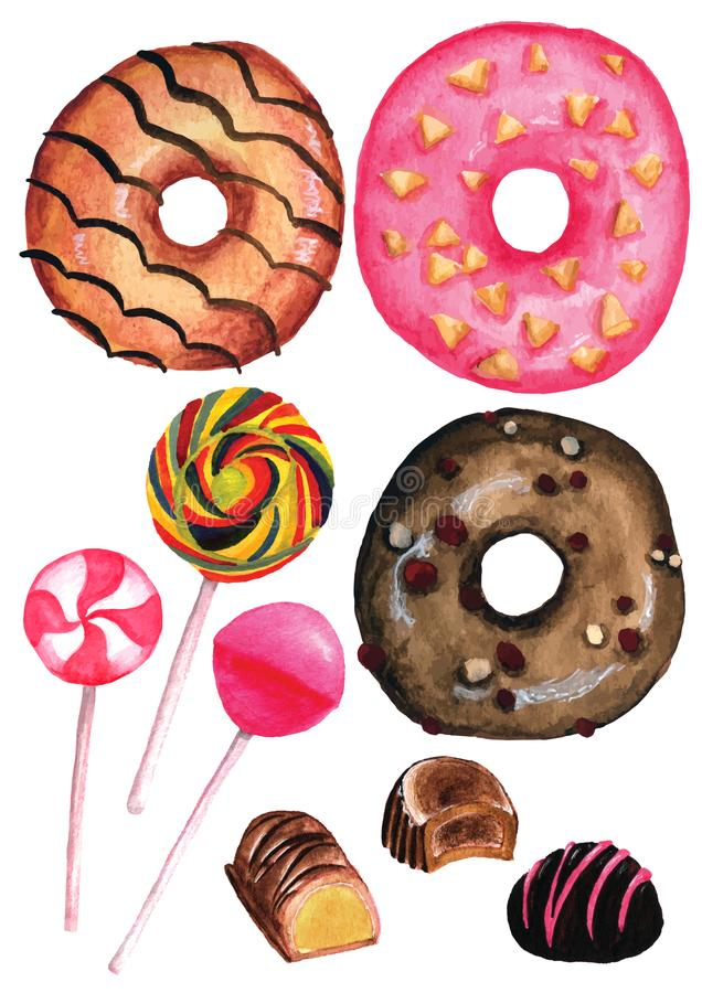 Download Watercolor Sweets Isolated Clipart On White Background. Donuts, Lollipop, Chocolate Pralines Stock Illustration - Illustration of hamburger, pattern: 115773263