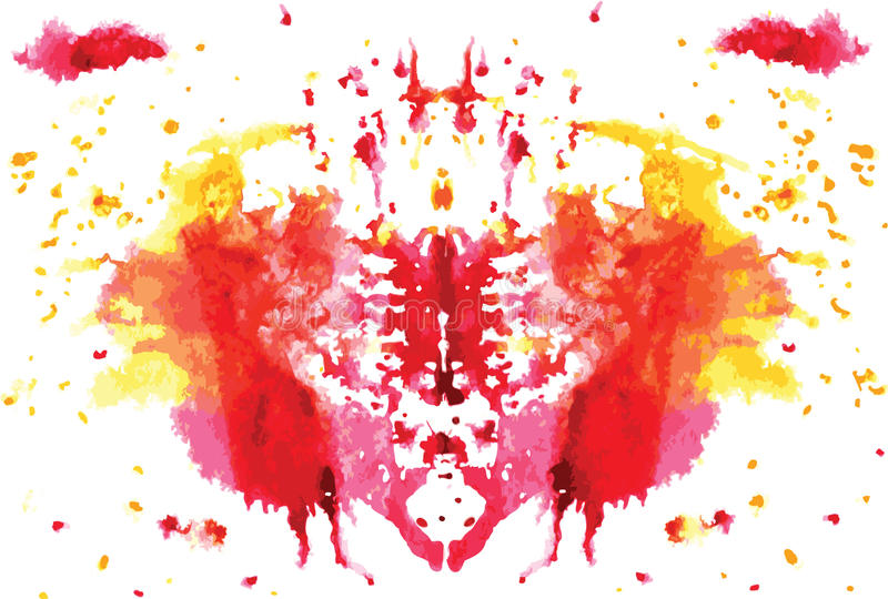 Watercolor symmetrical Rorschach blot royalty free illustration