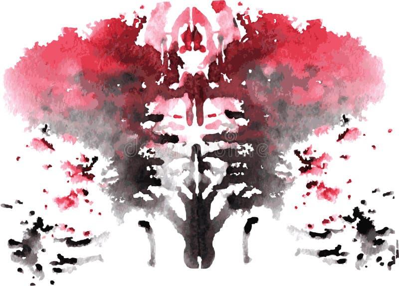 Watercolor symmetrical Rorschach blot. On a white background vector illustration