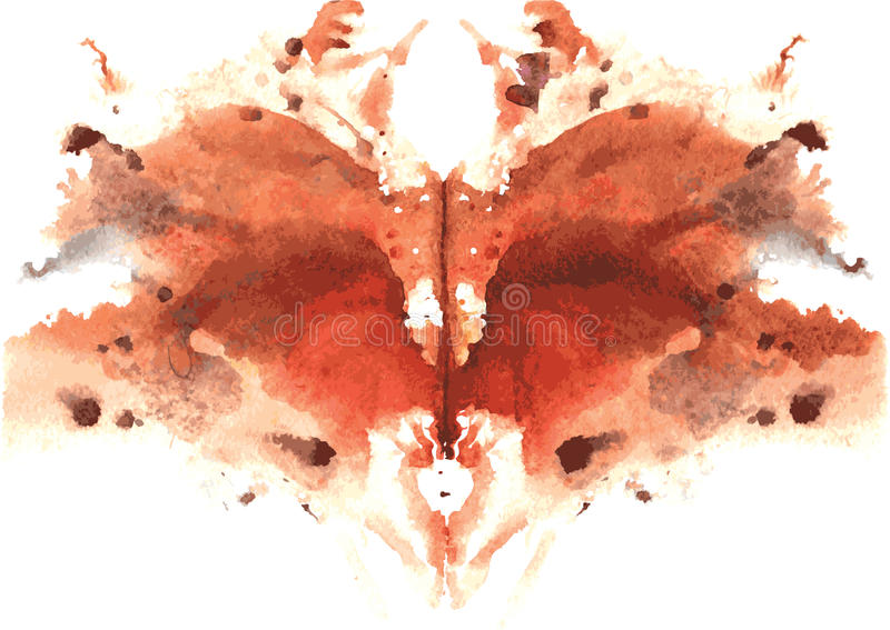 watercolor symmetrical Rorschach blot stock illustration